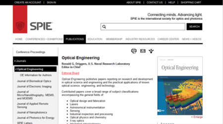 Cover Feature  Optical Engineering 52 (1), 013605, (2013)