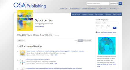 Cover Feature Optics Letters 40 (9), 1976-1979 (2015)