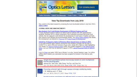 Top Downloaded Article of OL Optics Letters 43 (14), 3365-3368 (2018)