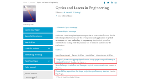 Top downloaded articles of OLEN Optics and Lasers in Engineering 85, 84-103	(2016) Optics and Lasers in Engineering 109, 23-59	(2018)